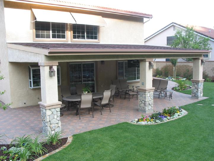 Elegant Stucco And Stone Patio Cover With Composition Roof. Drywall Ceiling,  Recessed Lighting And Ceiling